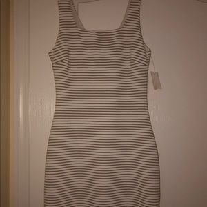 BAR III GOLD AND WHITE STRIPED DRESS